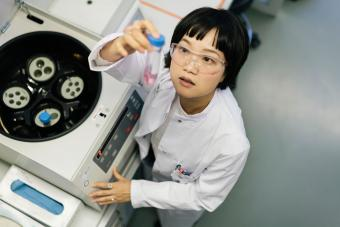Asian woman scientist in lab