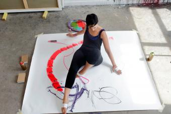 Woman expressing her creativity with art