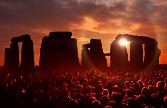 People gathered at Stonehenge
