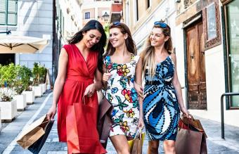 women friends out shopping