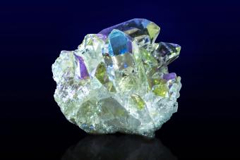 Rainbow aura quartz crystal cluster