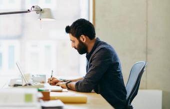 Man focusing on work