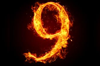 Fire number 9 on black background