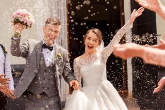 Happy bride and groom at wedding ceremony
