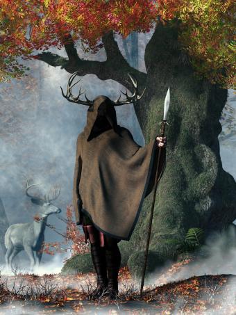 Tree with man deer