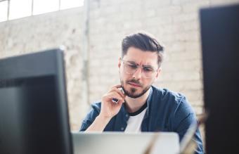 Man focused on working