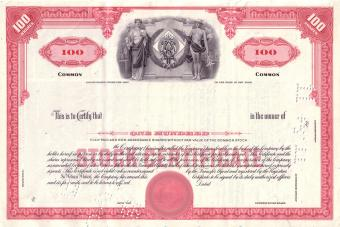 Vintage red share certificate