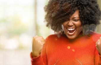 woman celebrating big success