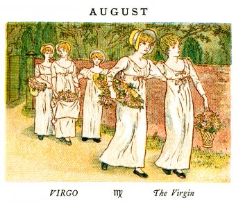 Kate Greenaway Almanack for 1884, an illustration for the month of August.