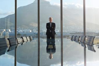 CEO in big corner office