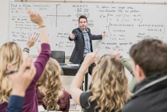 Professor taking questions in classroom