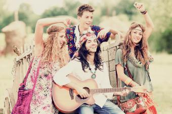 Hippies having fun together