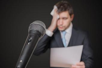 nervous man afraid of public speech