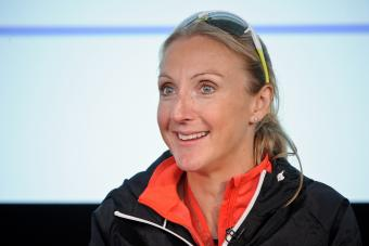 Paula Radcliffe at a press conference after the London Marathon on April 26, 2015 - Getty Editorial Use