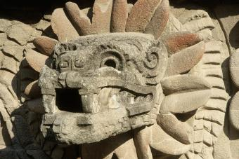 Feathered Serpent serpent head in the Temple of the Feathered Serpent in the archaeological Aztec site of Teotihuacan