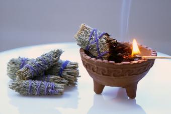 American Indian Herbal Smudge Stick Burning