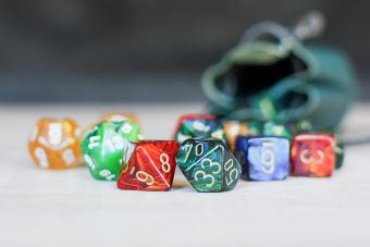 Different colorful role playing dice