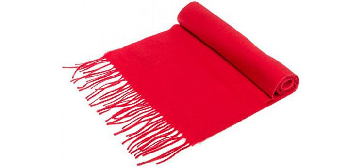 Red cashmere wool scarf