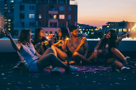 Friends gathered on rooftop