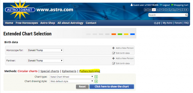 Screen shot of Extended Chart Selection from astro.com