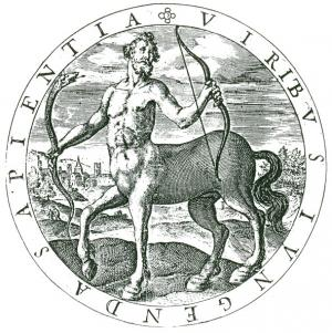 Greek mythological centaur Chiron holding snake and bow