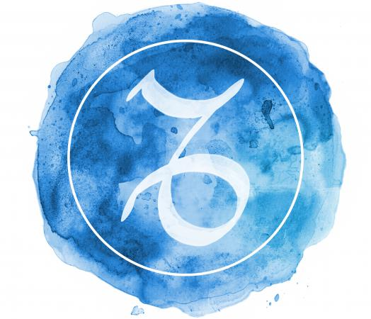 blue watercolor glyph for Capricorn