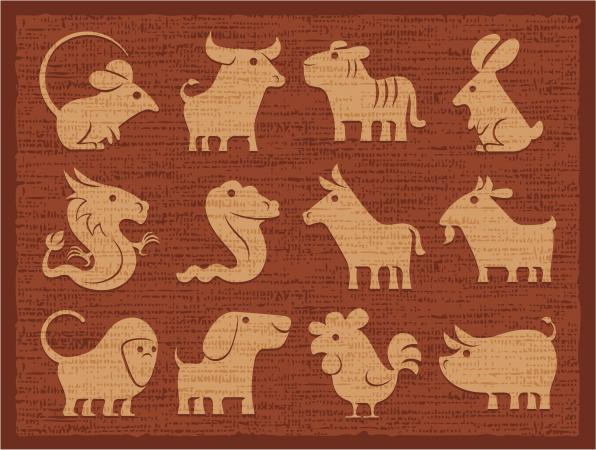 Chinese horoscope icons in earthtones