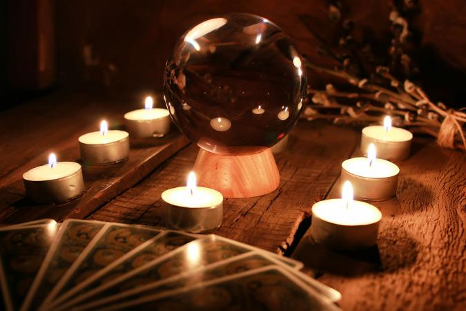 Tarot card reading in candle light
