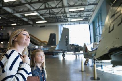 Mother and daughter at airplane museum