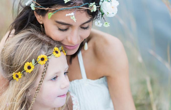 Boho-chic woman and child