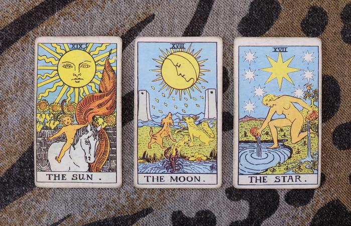 Sun, moon, star tarot cards