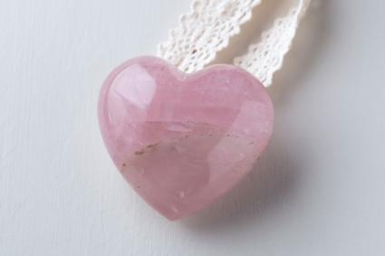 Heart Shaped Pink Rose Quartz