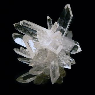 Quartz crystal cluster on black background