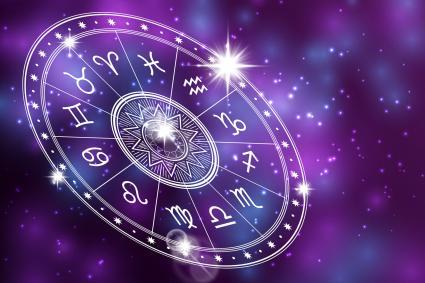 Horoscope circle on purple background
