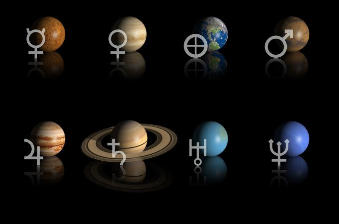 Astrological planets and their glyph symbols
