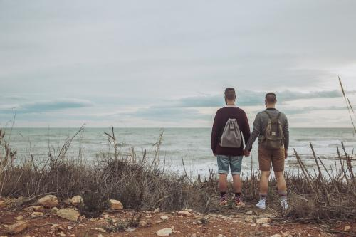 Couple hiking at the beach