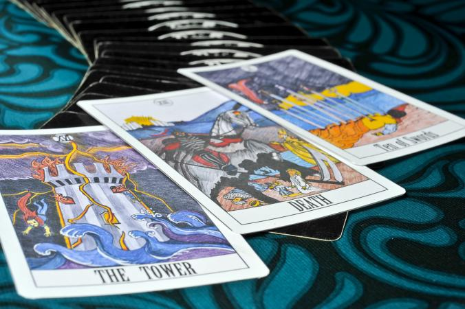 Death tarot card in a three card spread
