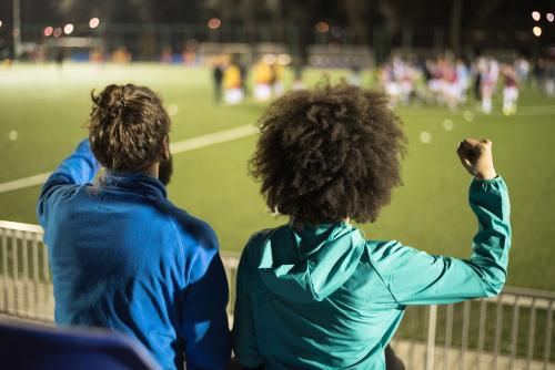 Couple at a soccer game