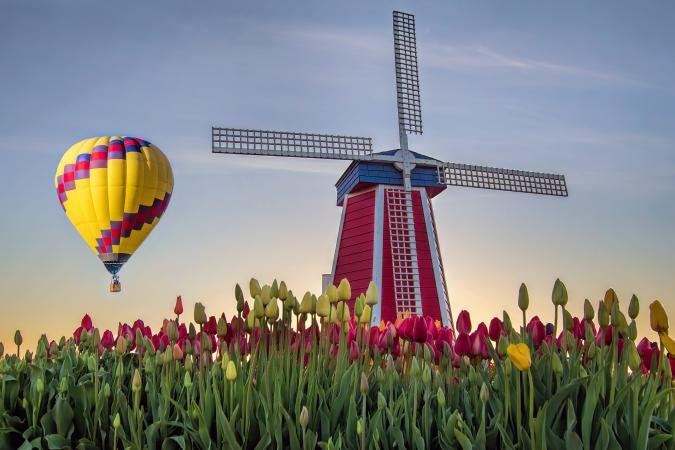 Hot air balloon and windmill