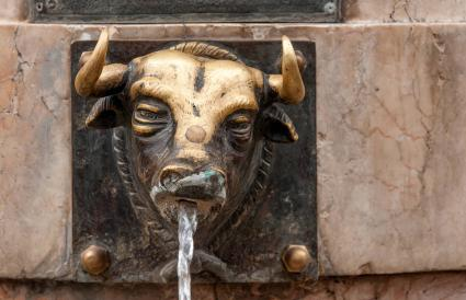 Bronze Bull Water Fountain