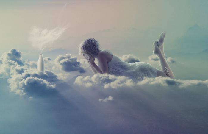 woman in clouds