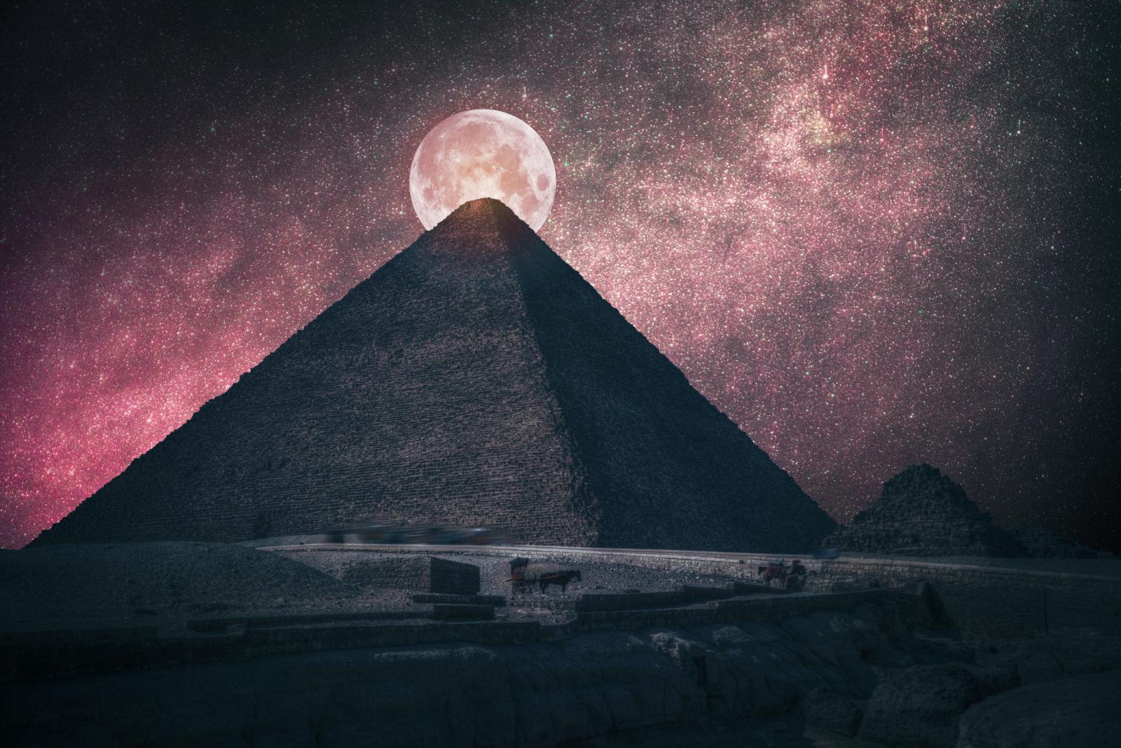 Pyramids of Egypt at night