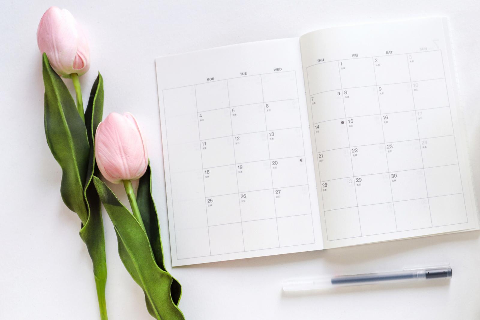 tulip and calendar