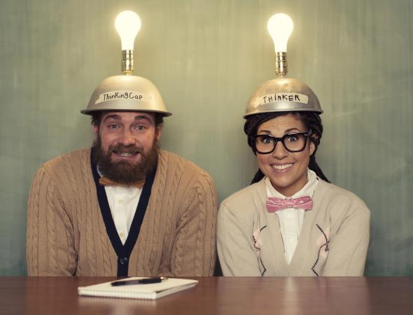 Couple with thinking caps on