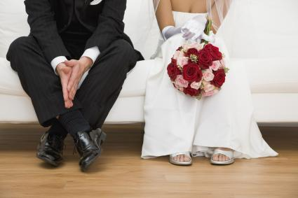 Bride and Groom sitting on couch