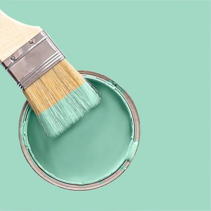 brush in turquoise paint color