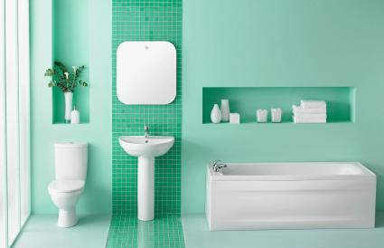 Interior of green bathroom