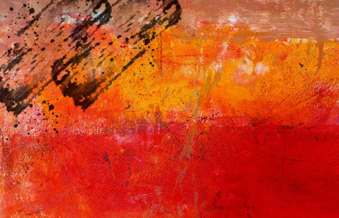 Abstract painted red art