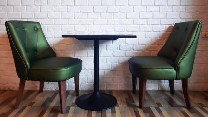 Green chairs and table