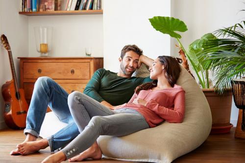 Man and woman sharing intimate conversation